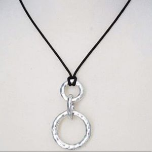 Lia Sophia Silver Circle Pendent Necklace